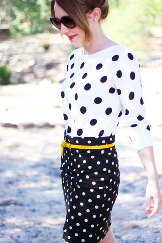 Women's White and Black Polka Dot Crew-neck Sweater, Black and White Polka Dot Pencil Skirt, Yellow Leather Belt, Dark Brown Sunglasses