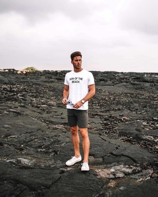 How to wear: white and black print crew-neck t-shirt, charcoal shorts, white canvas low top sneakers, tan leather watch