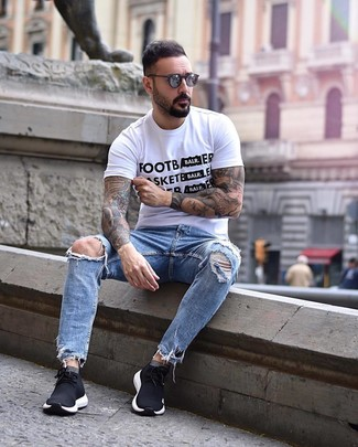 How to wear: white and black print crew-neck t-shirt, light blue ripped jeans, black athletic shoes, charcoal sunglasses