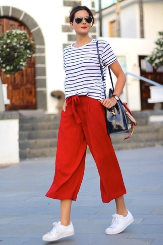 How to wear: white and black horizontal striped crew-neck t-shirt, red culottes, white leather low top sneakers, navy leather tote bag