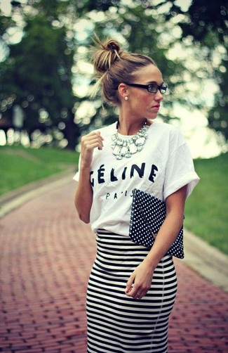 Women's White and Black Print Crew-neck T-shirt, White and Black Horizontal Striped Pencil Skirt, Black and White Polka Dot Leather Clutch, Silver Necklace
