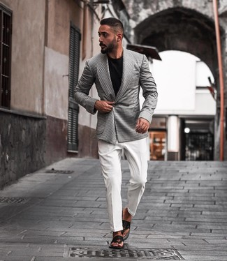 How to wear: white and black houndstooth double breasted blazer, white dress shirt, black crew-neck t-shirt, black leather flip flops