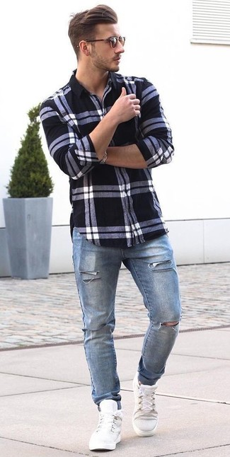 b224081387 How to wear: white and black plaid dress shirt, blue ripped jeans, white