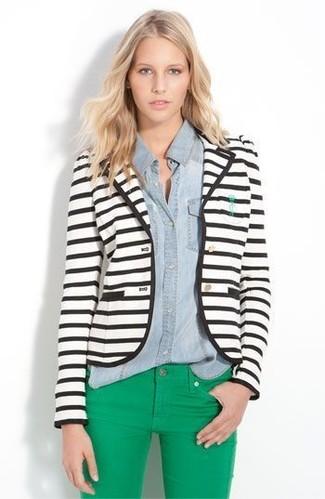 How to wear: white and black horizontal striped blazer, light blue denim shirt, green skinny jeans