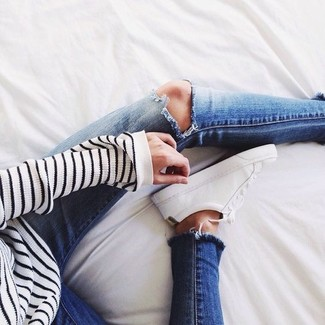 Jamie Ripped High Rise Ankle Skinny Jeans