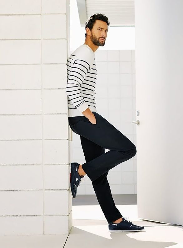 Mens White and Black Horizontal Striped Crew,neck Sweater, Navy Chinos, Navy Leather Low Top Sneakers