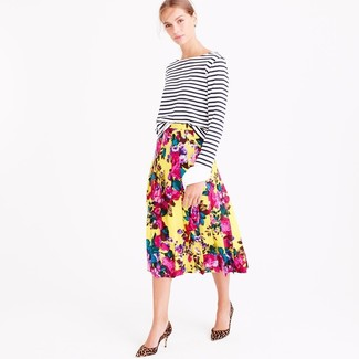 Women's White and Black Horizontal Striped Crew-neck Sweater, Yellow Floral Midi Skirt, Tan Leopard Suede Pumps