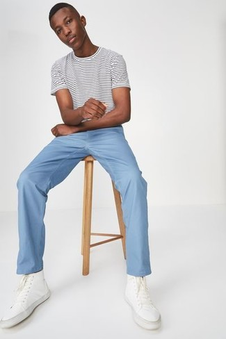 How to wear: white and black horizontal striped crew-neck t-shirt, light blue chinos, white canvas high top sneakers