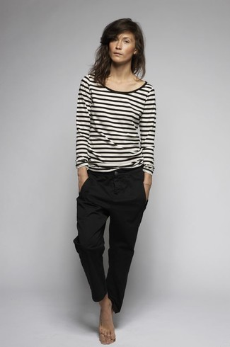 Women's White and Black Horizontal Striped Long Sleeve T-shirt, Black Chinos
