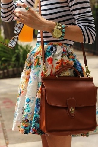 How to wear: white and black horizontal striped long sleeve t-shirt, multi colored floral skater skirt, brown crossbody bag