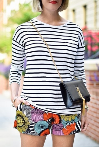 Women's White and Black Horizontal Striped Long Sleeve T-shirt, Multi colored Print Shorts, Black Leather Crossbody Bag