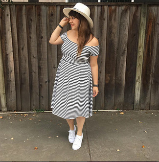 How to wear: white and black horizontal striped off shoulder dress, white canvas low top sneakers, white straw hat