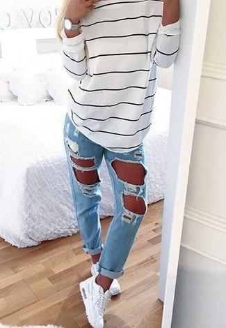 b890c3546185 Women s White and Black Horizontal Striped Oversized Sweater