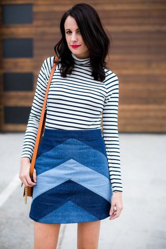 Women's White and Black Horizontal Striped Turtleneck, Blue Chevron Denim Mini Skirt, Tan Leather Crossbody Bag