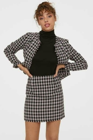 How to wear: white and black houndstooth blazer, black turtleneck, white and black houndstooth mini skirt