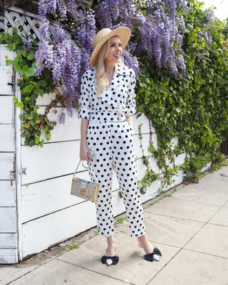 How to wear: white and black polka dot jumpsuit, white and black leather pumps, silver leather crossbody bag, khaki straw hat