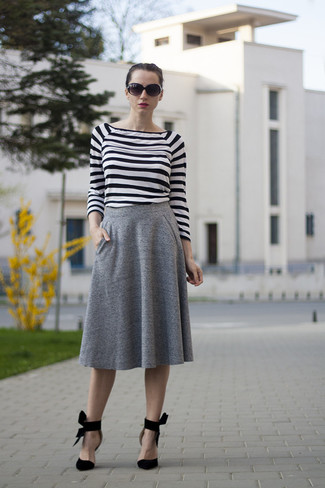 How to wear: white and black horizontal striped long sleeve t-shirt, grey pleated midi skirt, black suede pumps, black sunglasses