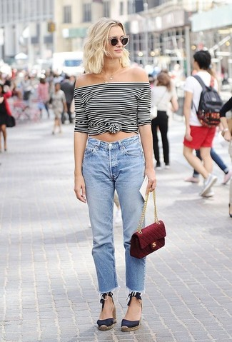 How to wear: white and black horizontal striped off shoulder top, light blue boyfriend jeans, navy canvas wedge sandals, burgundy quilted crossbody bag