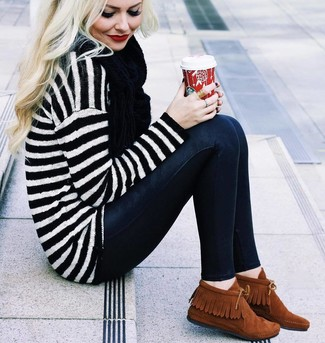 Dress in a white and black horizontal striped oversized sweater and a black scarf for a lazy Sunday brunch. Got bored with this outfit? Enter tobacco suede desert boots to switch things up. This combination is perfect for unpredictable fall weather.