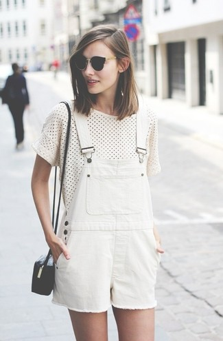 A white and black polka dot crew-neck t-shirt and Rebecca Minkoff Shlee Dungaree will convey a carefree, cool-girl vibe. This look is likely to become your hot weather go-to.