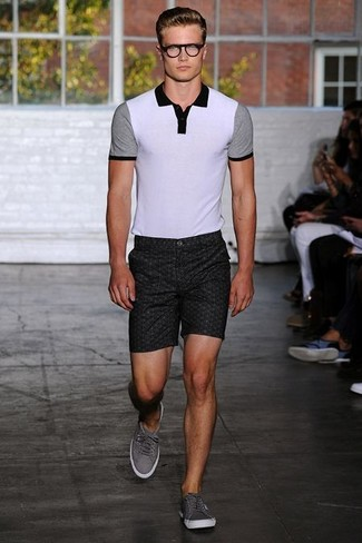 Men's White and Black Polo, Charcoal Print Shorts, Grey Low Top Sneakers
