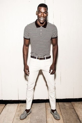 How to Wear a Dark Brown Woven Leather Belt For Men: Why not choose a white and black horizontal striped polo and a dark brown woven leather belt? As well as totally functional, these pieces look good when paired together. If you wish to instantly step up this look with one single piece, why not introduce black and white leather loafers to the mix?
