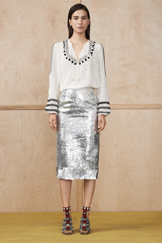 How to wear: white and black print peasant blouse, silver sequin pencil skirt, white and black snake leather heeled sandals