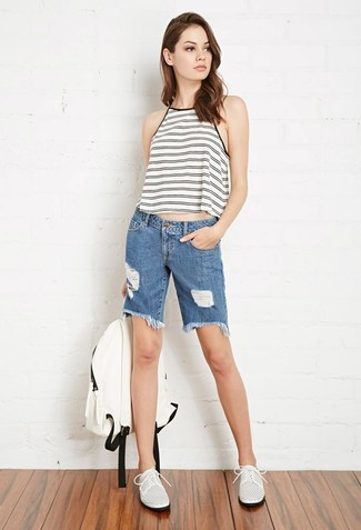 How to wear: white and black horizontal striped tank, blue denim bermuda shorts, white leather oxford shoes, white backpack