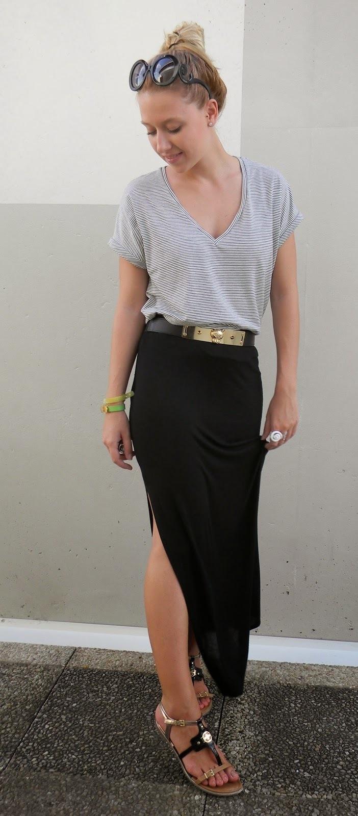 Womens Black Maxi Skirt - Dress Ala