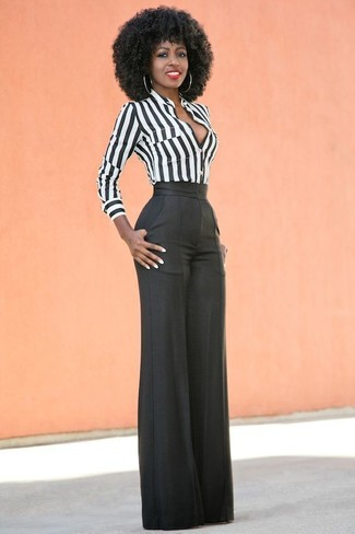 How to wear: white and black vertical striped dress shirt, black wide leg pants