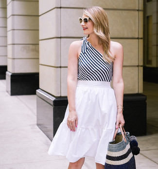 How to wear: white and black vertical striped tank, white pleated midi skirt, black horizontal striped straw tote bag