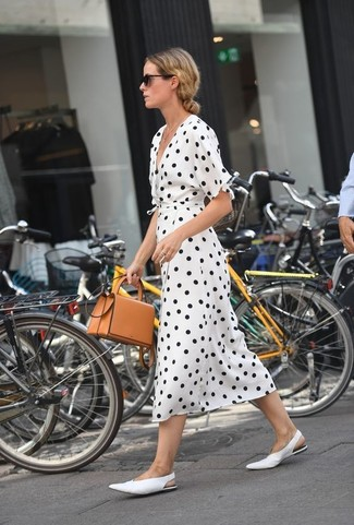 How to wear: white and black polka dot wrap dress, white leather pumps, tan leather crossbody bag, black sunglasses