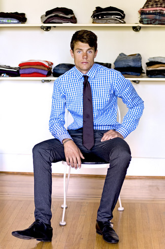 How to Wear a Dark Purple Tie For Men: Teaming a white and blue gingham dress shirt and a dark purple tie will cement your styling skills. Put a different spin on an otherwise classic look by sporting black leather derby shoes.