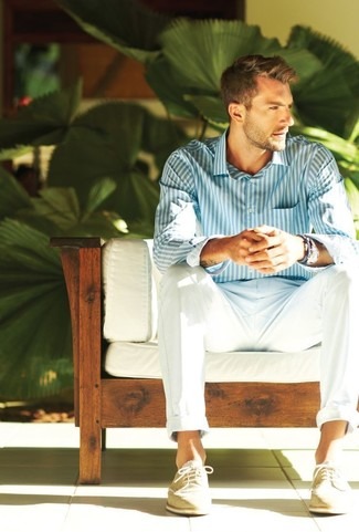 How to wear: white and blue vertical striped dress shirt, white chinos, beige suede brogues, blue bracelet