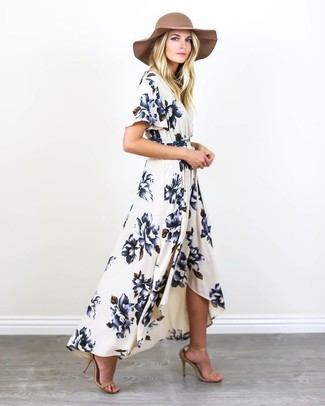 Grey And Camel Floppy Hat
