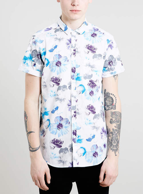 Men 39 s 39 white and blue floral shortsleeve shirt and black for Mens short sleeve floral shirt