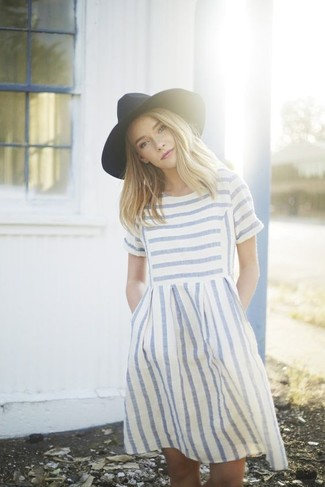 Black Wool Hat Relaxed Outfits For Women: This pairing of a white and blue horizontal striped casual dress and a black wool hat is proof that a safe casual ensemble can still look totaly chic.