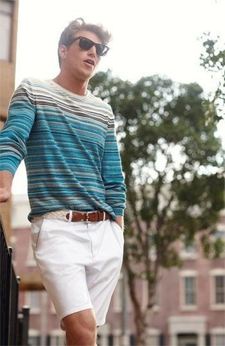 Men's White and Blue Horizontal Striped Crew-neck Sweater, White Shorts, White Leather Belt