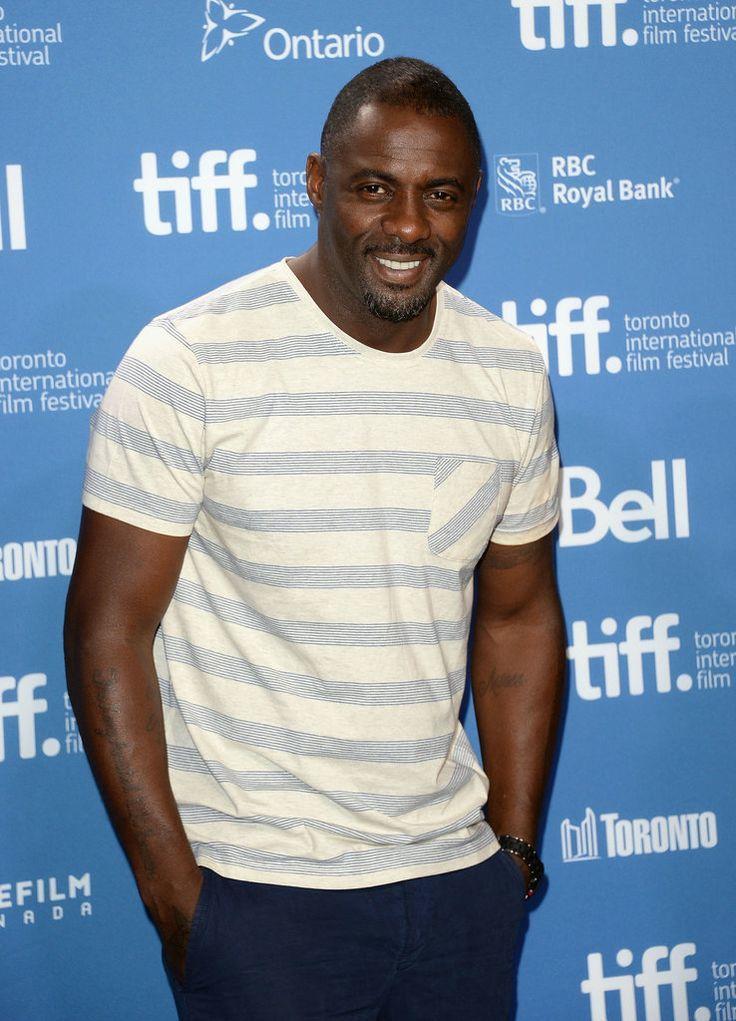 22cca8678d8f Idris Elba wearing White and Blue Horizontal Striped Crew-neck T ...