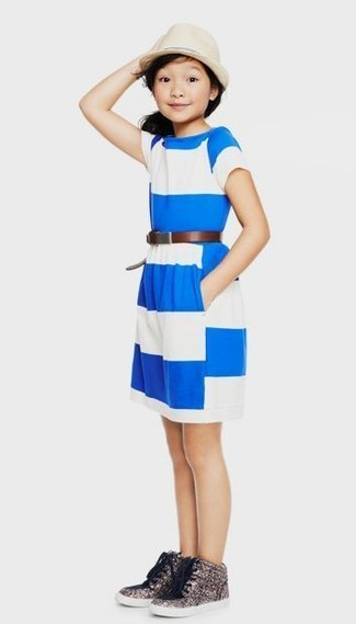 How to wear: white and blue horizontal striped dress, silver sequin sneakers, beige hat