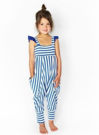 How to wear: white and blue horizontal striped overalls
