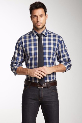 2ccdb4615d4e ... Men's White and Blue Plaid Long Sleeve Shirt, Charcoal Skinny Jeans,  Charcoal Tie,