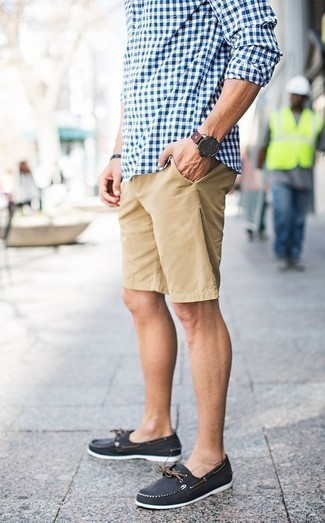 How to Wear a Dark Brown Leather Watch For Men: Consider pairing a white and blue gingham long sleeve shirt with a dark brown leather watch for a trendy and easy-going look. Feeling venturesome today? Class up your ensemble by sporting a pair of black canvas boat shoes.