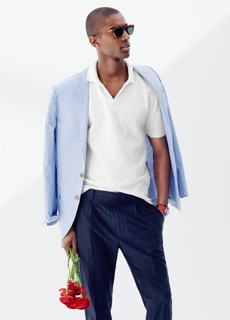 How to wear: white and blue vertical striped blazer, white polo, navy vertical striped dress pants
