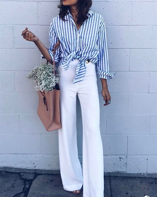 How to wear: white and blue vertical striped dress shirt, white flare pants, tan leather tote bag