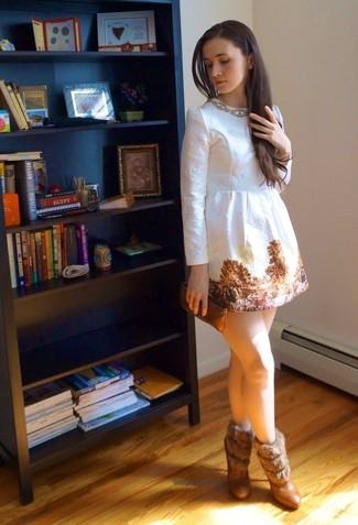 Torn Paper Printed Satin Dress