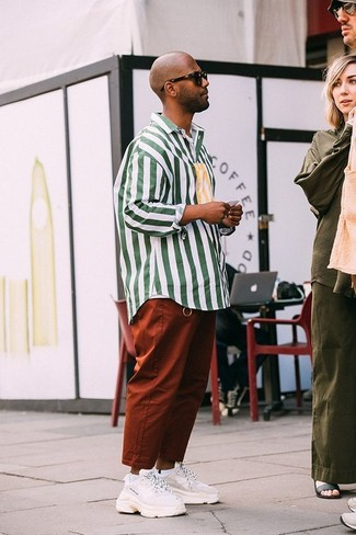 How to wear: white and green vertical striped long sleeve shirt, tobacco chinos, white athletic shoes