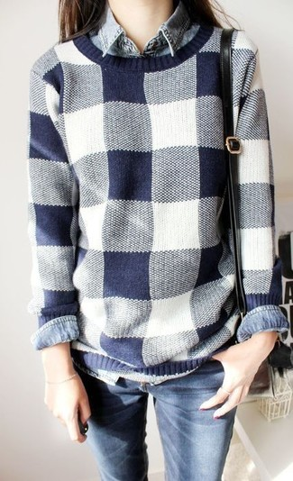 A white and navy check crew-neck sweater and navy blue slim jeans is a versatile combination that will provide you with variety. So if you're in search of an ensemble that's cute but also totally spring_friendly, look no further.