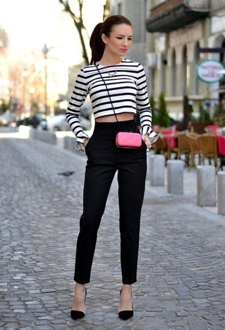 Women's White and Navy Horizontal Striped Cropped Sweater, Black ...