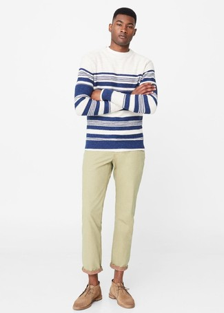 How to wear: white and navy horizontal striped crew-neck sweater, beige jeans, tan suede desert boots